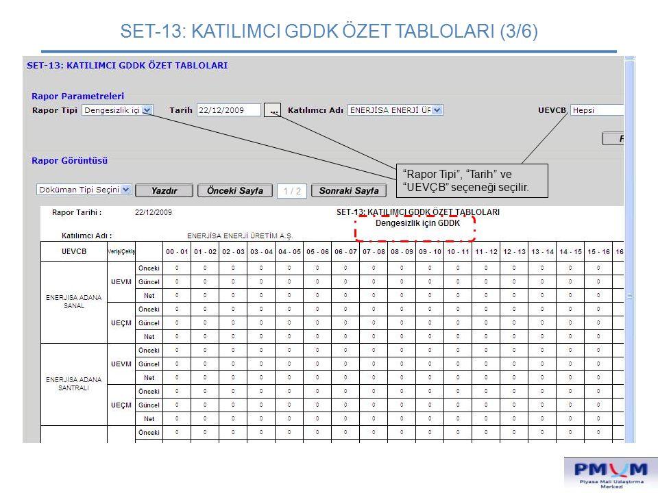 """SET-13: KATILIMCI GDDK ÖZET TABLOLARI (3/6) """"Rapor Tipi"""", """"Tarih"""" ve """"UEVÇB"""" seçeneği seçilir."""