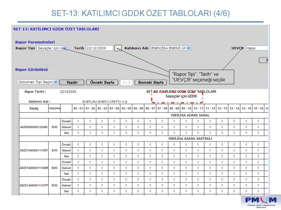 """SET-13: KATILIMCI GDDK ÖZET TABLOLARI (4/6) """"Rapor Tipi"""", """"Tarih"""" ve """"UEVÇB"""" seçeneği seçilir."""
