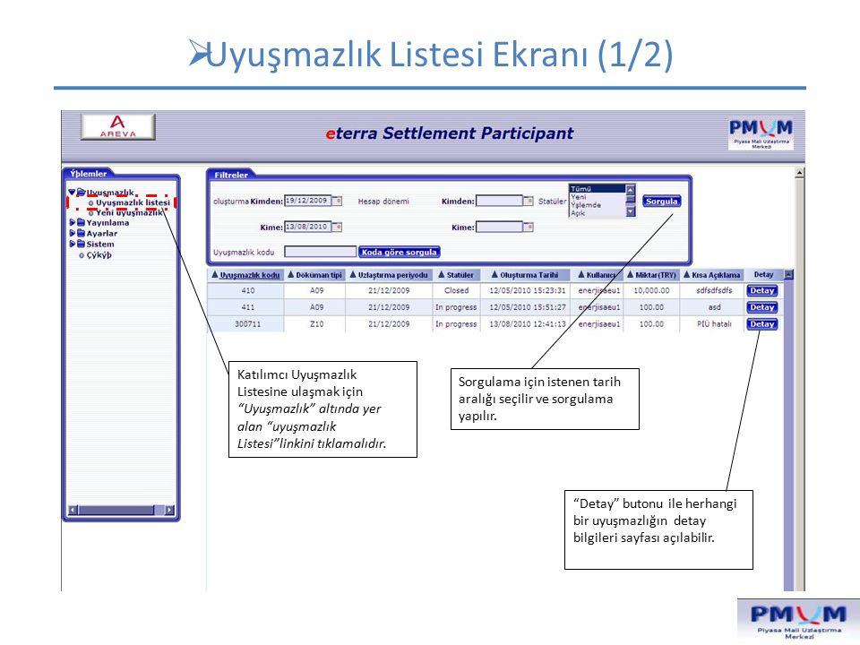  Uyuşmazlık Listesi Ekranı-Detay (2/2) Uyuşmazlığa ilişkin katılımcı ve piyasa işletmecisinin yaptığı işlemler ve mesajlar
