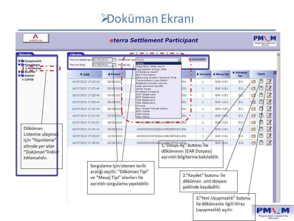  1.EAR Dosyası Detay Ekranı (1) Dökümanın içeriğinin belirlendiği alanlar.
