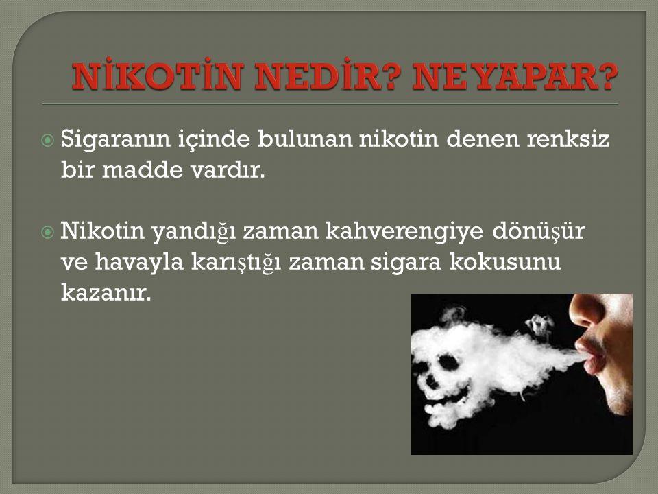  Sigaranın içinde bulunan nikotin denen renksiz bir madde vardır.  Nikotin yandı ğ ı zaman kahverengiye dönü ş ür ve havayla karı ş tı ğ ı zaman sig