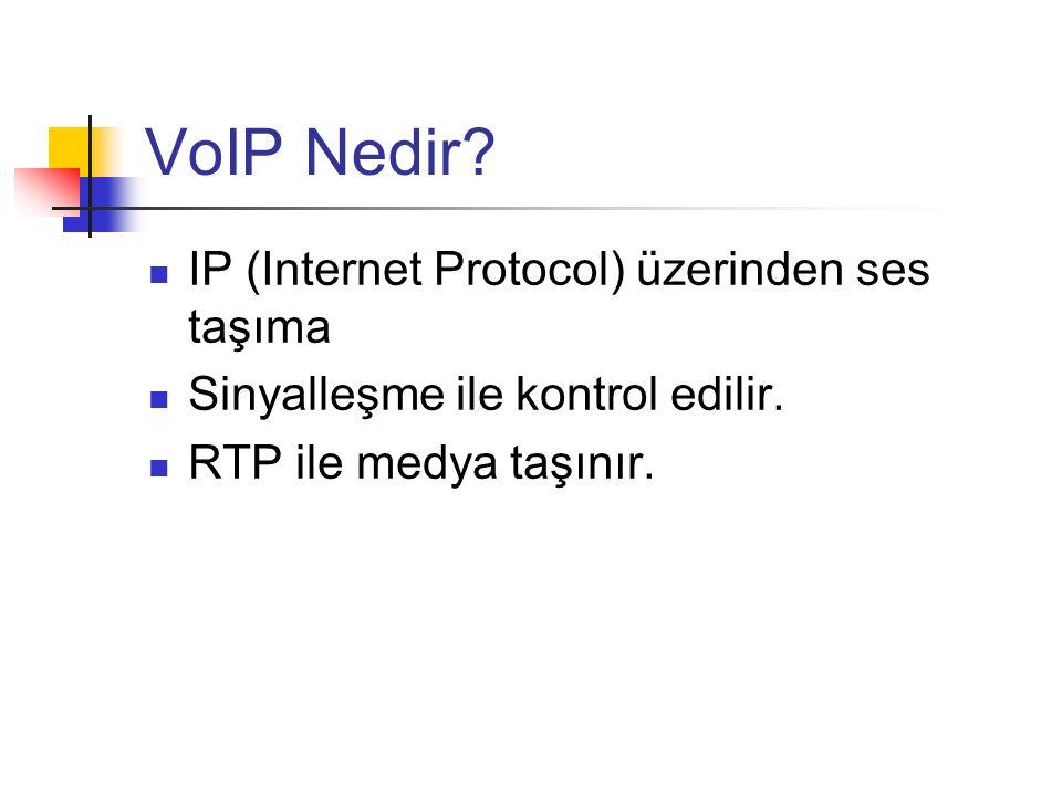VoIP Nedir? IP (Internet Protocol) üzerinden ses taşıma Sinyalleşme ile kontrol edilir. RTP ile medya taşınır.