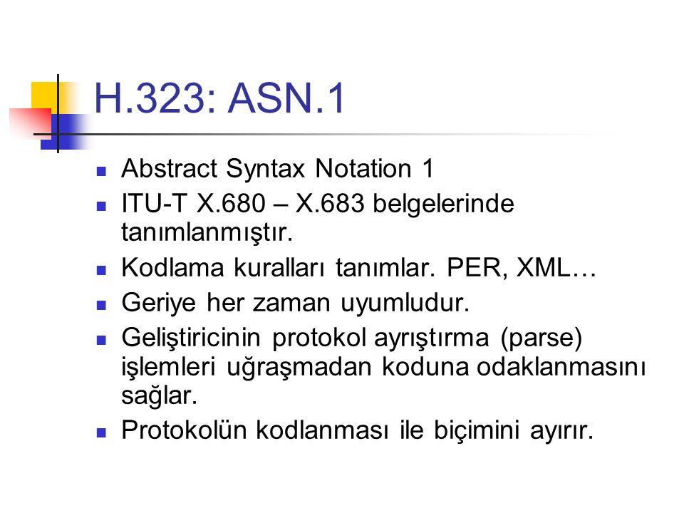 H.323: ASN.1 Abstract Syntax Notation 1 ITU-T X.680 – X.683 belgelerinde tanımlanmıştır. Kodlama kuralları tanımlar. PER, XML… Geriye her zaman uyumlu
