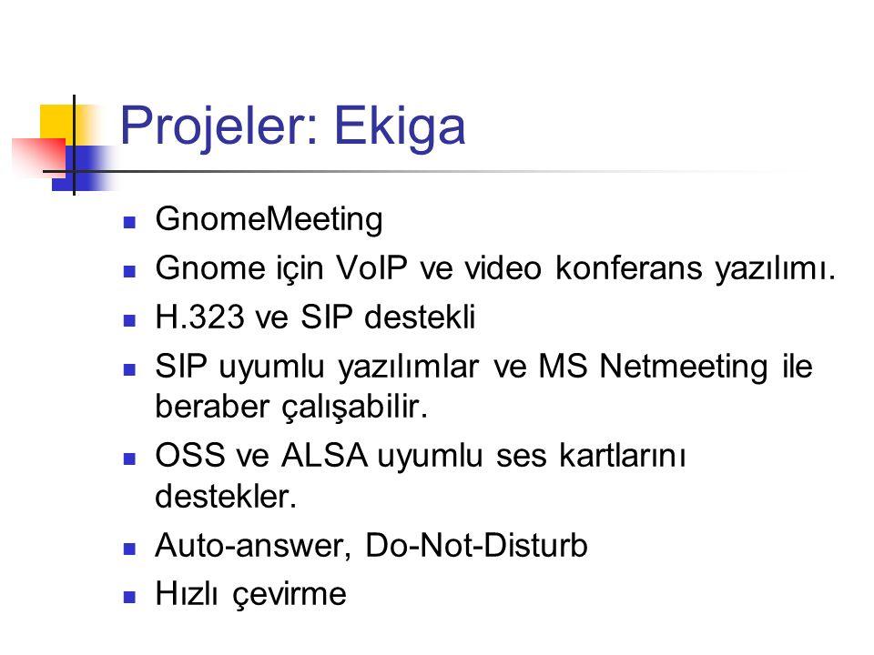 Projeler: Ekiga GnomeMeeting Gnome için VoIP ve video konferans yazılımı. H.323 ve SIP destekli SIP uyumlu yazılımlar ve MS Netmeeting ile beraber çal