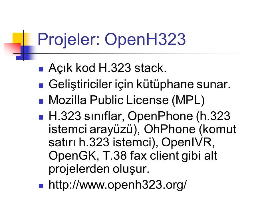 Projeler: OpenH323 Açık kod H.323 stack. Geliştiriciler için kütüphane sunar. Mozilla Public License (MPL) H.323 sınıflar, OpenPhone (h.323 istemci ar