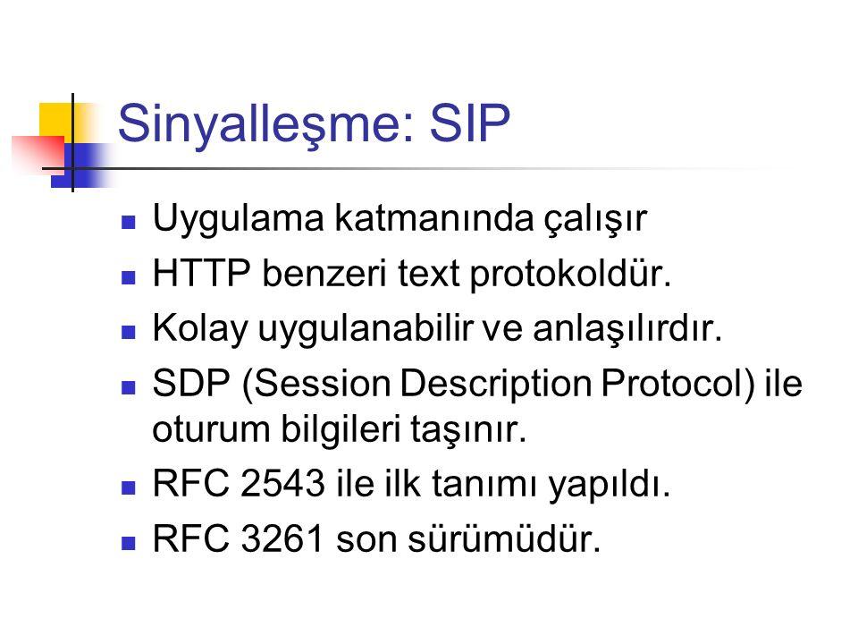 Sinyalleşme: SIP Uygulama katmanında çalışır HTTP benzeri text protokoldür. Kolay uygulanabilir ve anlaşılırdır. SDP (Session Description Protocol) il