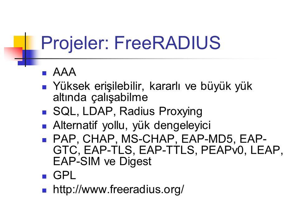 Projeler: FreeRADIUS AAA Yüksek erişilebilir, kararlı ve büyük yük altında çalışabilme SQL, LDAP, Radius Proxying Alternatif yollu, yük dengeleyici PA