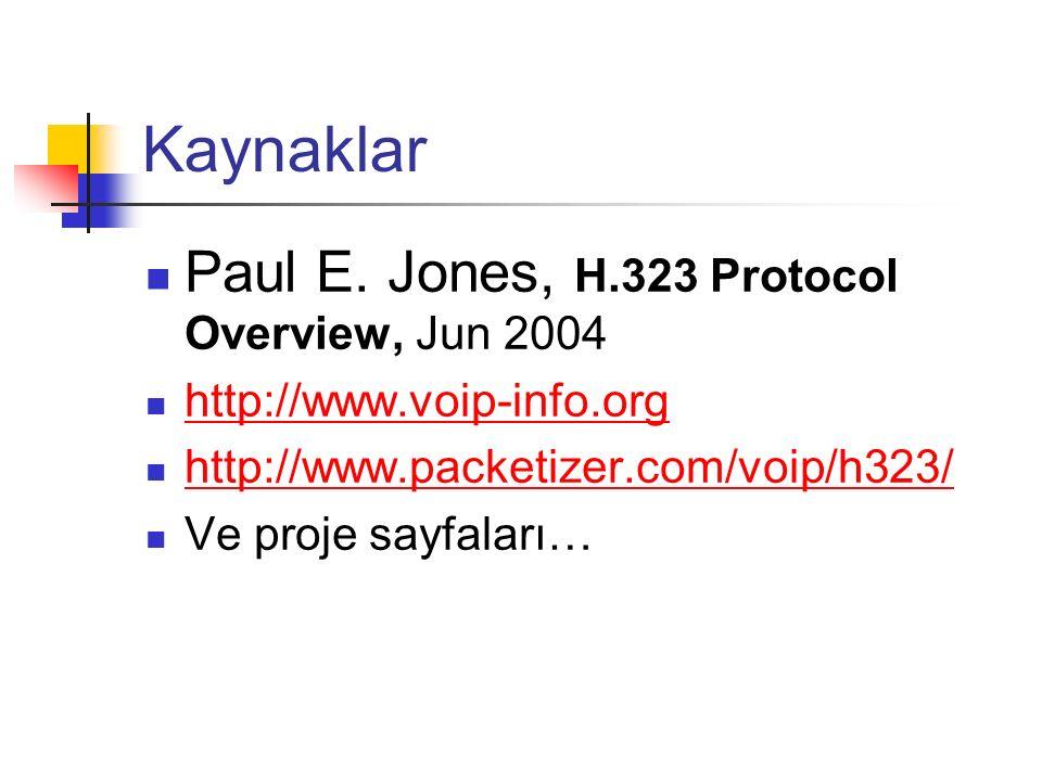 Kaynaklar Paul E. Jones, H.323 Protocol Overview, Jun 2004 http://www.voip-info.org http://www.packetizer.com/voip/h323/ Ve proje sayfaları…