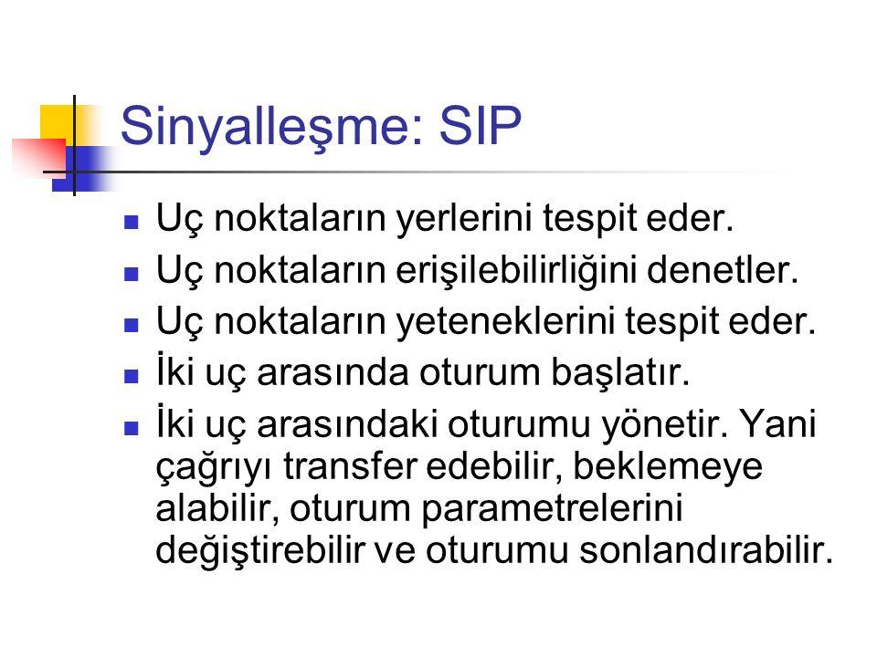 Sinyalleşme: SIP Uç noktaların yerlerini tespit eder. Uç noktaların erişilebilirliğini denetler. Uç noktaların yeteneklerini tespit eder. İki uç arası