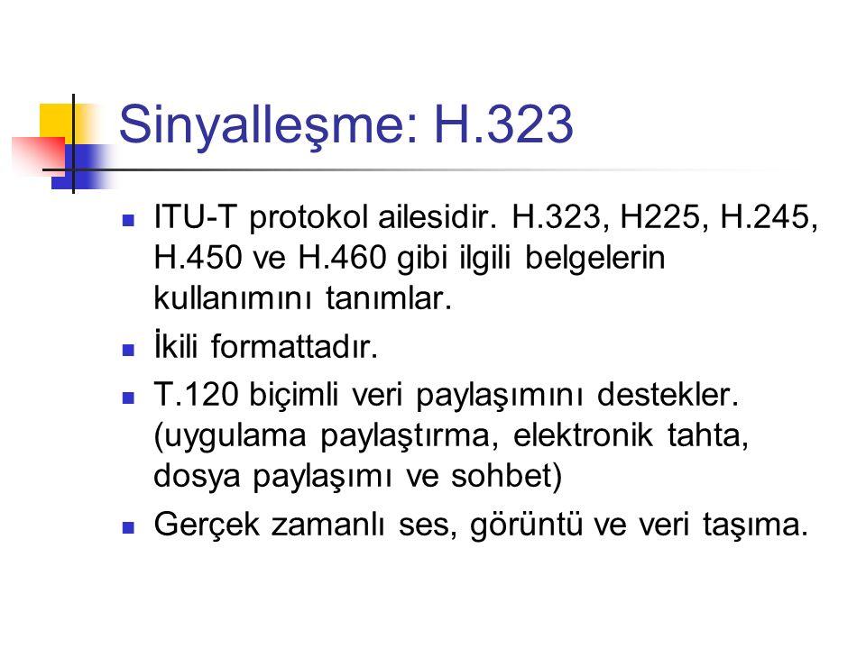 Sinyalleşme: H.323 ITU-T protokol ailesidir. H.323, H225, H.245, H.450 ve H.460 gibi ilgili belgelerin kullanımını tanımlar. İkili formattadır. T.120