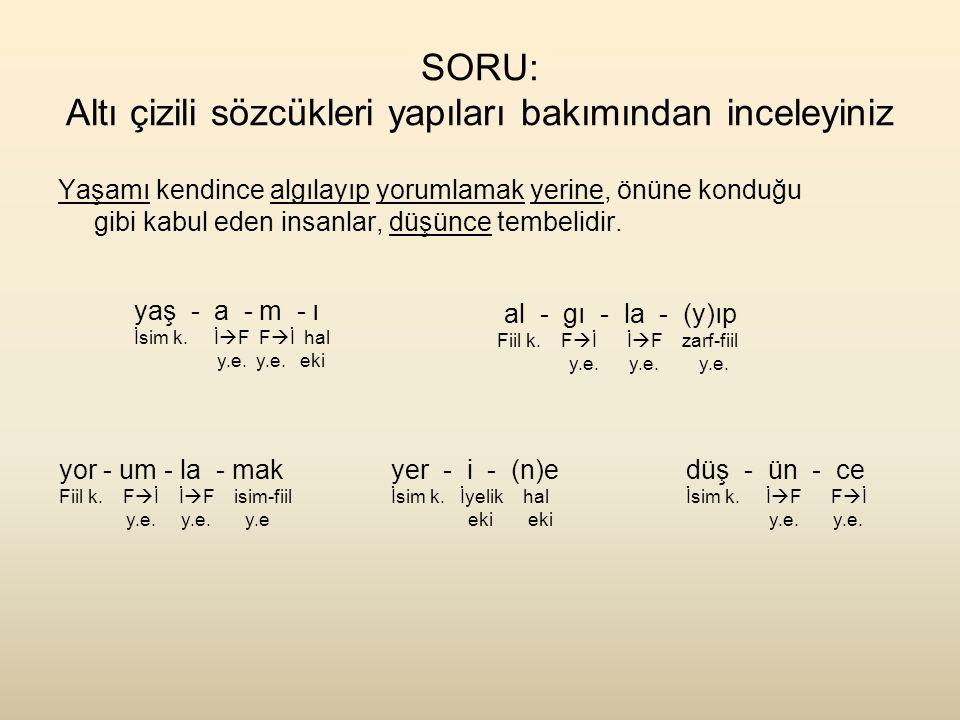 SORU: Altı çizili sözcükleri yapıları bakımından inceleyiniz Yaşamı kendince algılayıp yorumlamak yerine, önüne konduğu gibi kabul eden insanlar, düşü