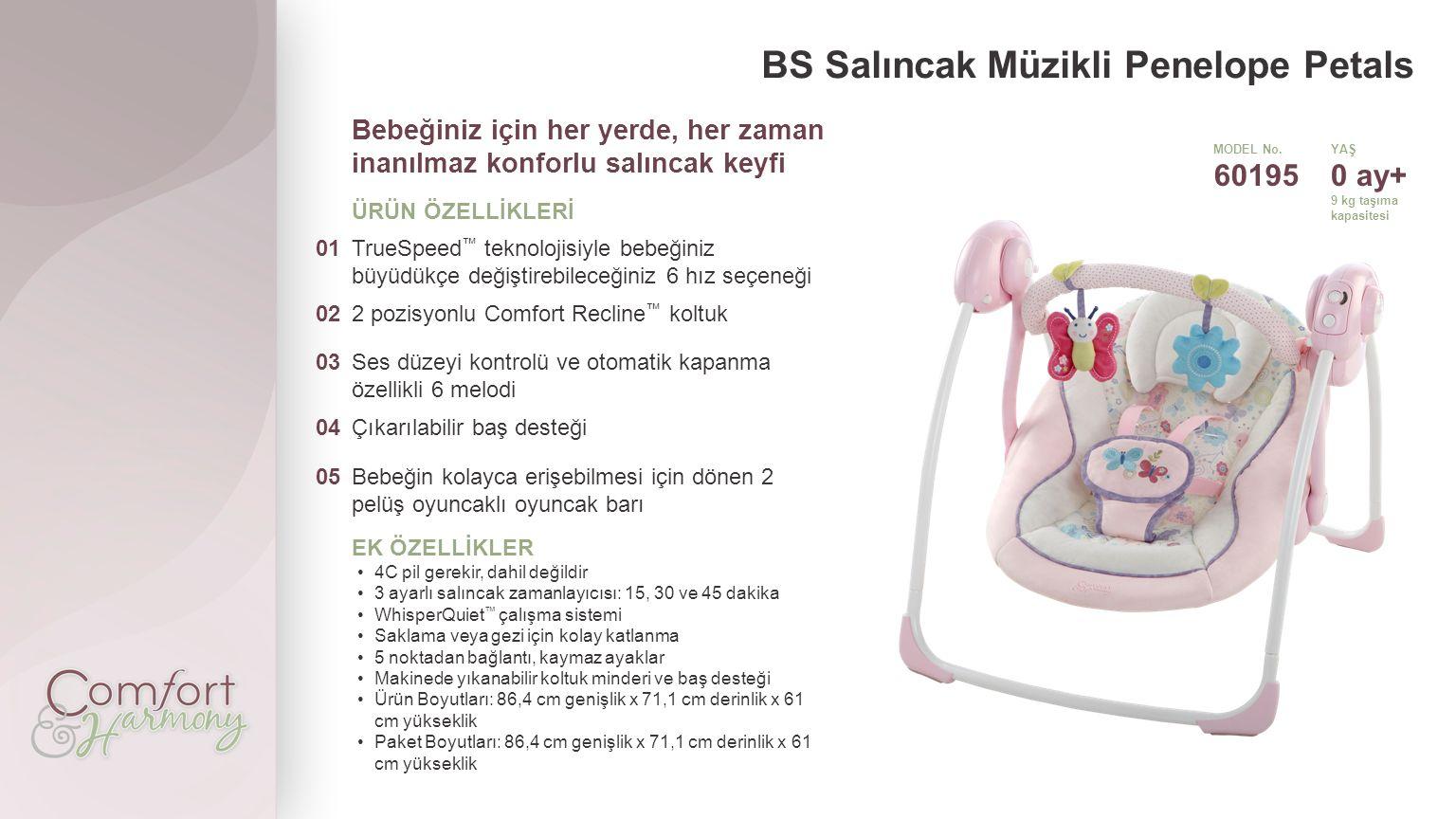 BS Salıncak Müzikli Penelope Petals Bebeğiniz için her yerde, her zaman inanılmaz konforlu salıncak keyfi ÜRÜN ÖZELLİKLERİ 01TrueSpeed ™ teknolojisiyle bebeğiniz büyüdükçe değiştirebileceğiniz 6 hız seçeneği 022 pozisyonlu Comfort Recline ™ koltuk 03Ses düzeyi kontrolü ve otomatik kapanma özellikli 6 melodi 04Çıkarılabilir baş desteği 05Bebeğin kolayca erişebilmesi için dönen 2 pelüş oyuncaklı oyuncak barı EK ÖZELLİKLER 4C pil gerekir, dahil değildir 3 ayarlı salıncak zamanlayıcısı: 15, 30 ve 45 dakika WhisperQuiet ™ çalışma sistemi Saklama veya gezi için kolay katlanma 5 noktadan bağlantı, kaymaz ayaklar Makinede yıkanabilir koltuk minderi ve baş desteği Ürün Boyutları: 86,4 cm genişlik x 71,1 cm derinlik x 61 cm yükseklik Paket Boyutları: 86,4 cm genişlik x 71,1 cm derinlik x 61 cm yükseklik MODEL No.YAŞ 601950 ay+ 9 kg taşıma kapasitesi
