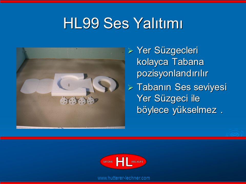www.hutterer-lechner.com Flexible Dichtlippen HL99 Ses Yalıtımı  Yer Süzgecleri kolayca Tabana pozisyonlandırılır  Tabanın Ses seviyesi Yer Süzgeci ile böylece yükselmez.