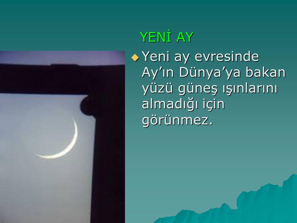 YENİ AY YENİ AY  Yeni ay evresinde Ay'ın Dünya'ya bakan yüzü güneş ışınlarını almadığı için görünmez.