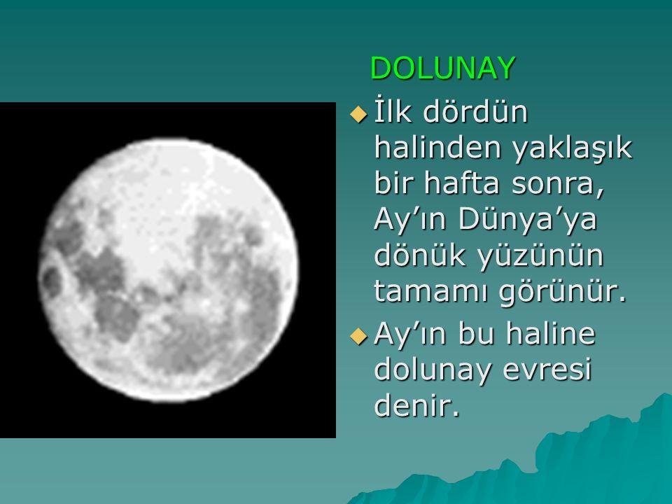 DOLUNAY DOLUNAY  İlk dördün halinden yaklaşık bir hafta sonra, Ay'ın Dünya'ya dönük yüzünün tamamı görünür.  Ay'ın bu haline dolunay evresi denir.