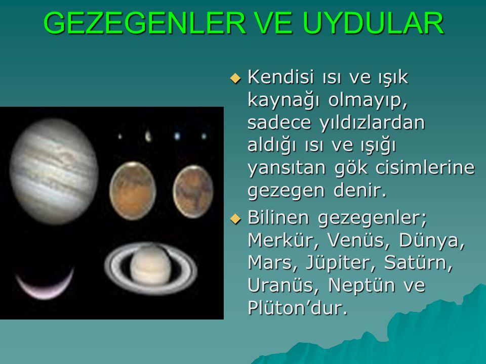 GEZEGENLER VE UYDULAR  Kendisi ısı ve ışık kaynağı olmayıp, sadece yıldızlardan aldığı ısı ve ışığı yansıtan gök cisimlerine gezegen denir.  Bilinen