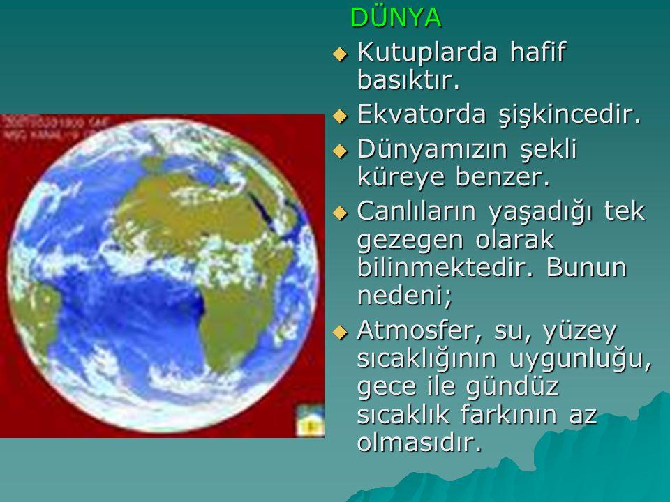 DÜNYA DÜNYA  Kutuplarda hafif basıktır.  Ekvatorda şişkincedir.  Dünyamızın şekli küreye benzer.  Canlıların yaşadığı tek gezegen olarak bilinmekt