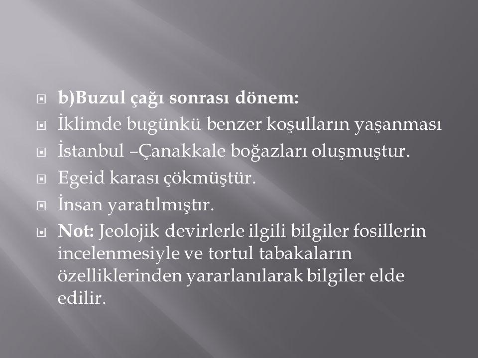  b)Buzul çağı sonrası dönem:  İklimde bugünkü benzer koşulların yaşanması  İstanbul –Çanakkale boğazları oluşmuştur.  Egeid karası çökmüştür.  İn
