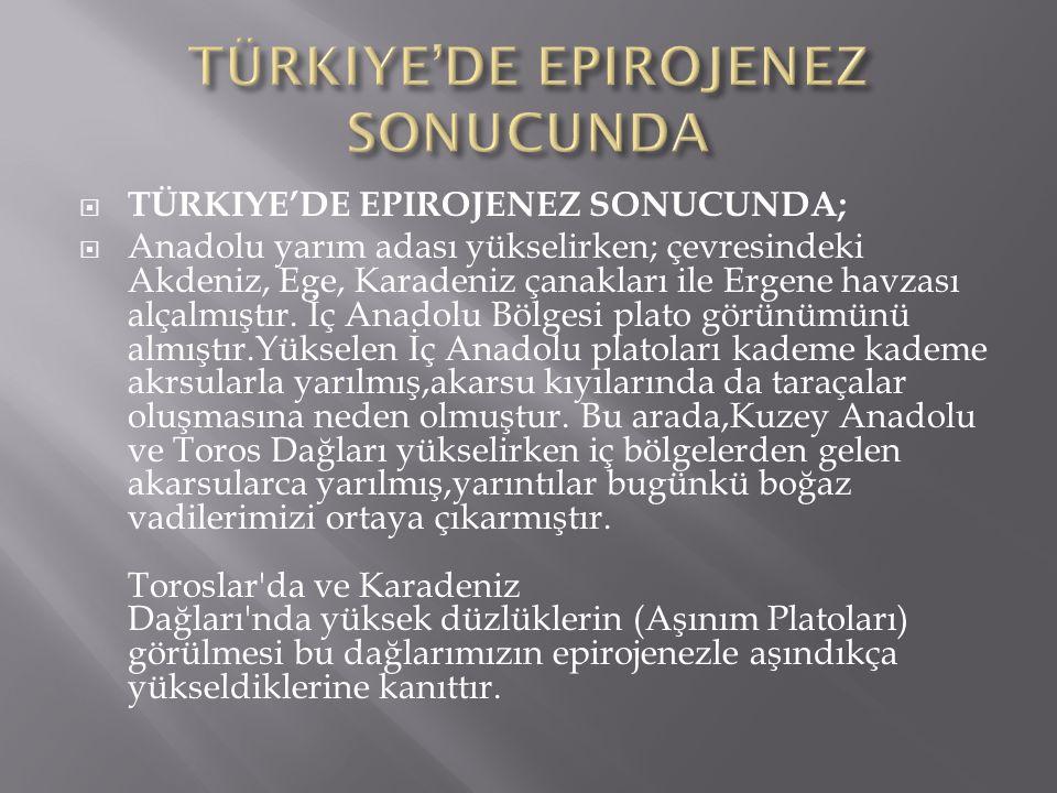 TÜRKIYE'DE EPIROJENEZ SONUCUNDA;  Anadolu yarım adası yükselirken; çevresindeki Akdeniz, Ege, Karadeniz çanakları ile Ergene havzası alçalmıştır. İ