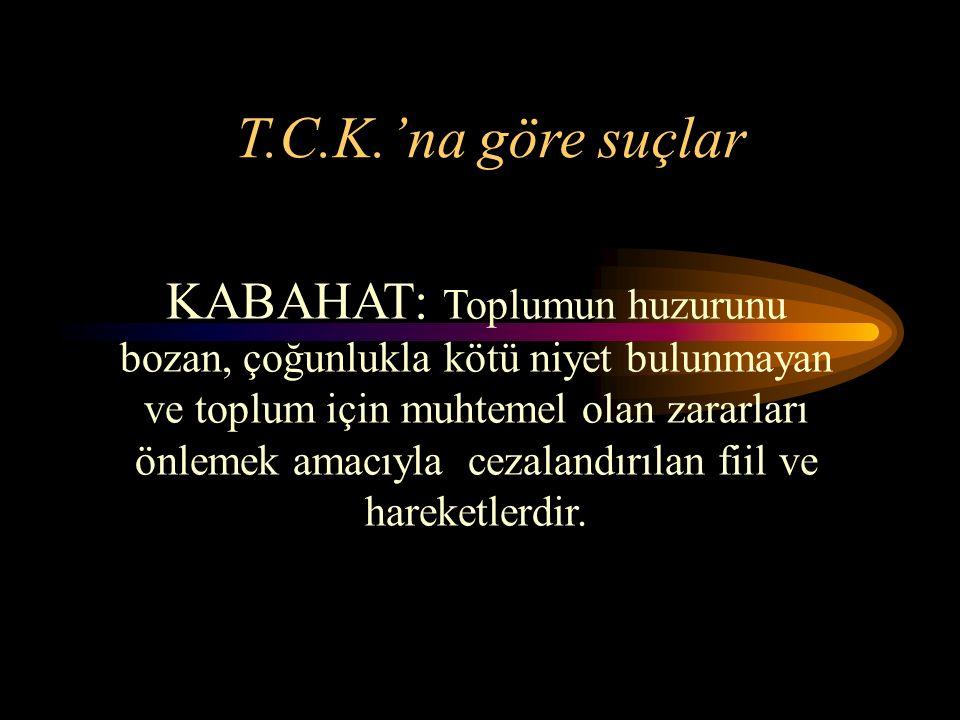 T.C.K.'na göre suçlar KABAHAT: Toplumun huzurunu bozan, çoğunlukla kötü niyet bulunmayan ve toplum için muhtemel olan zararları önlemek amacıyla cezalandırılan fiil ve hareketlerdir.