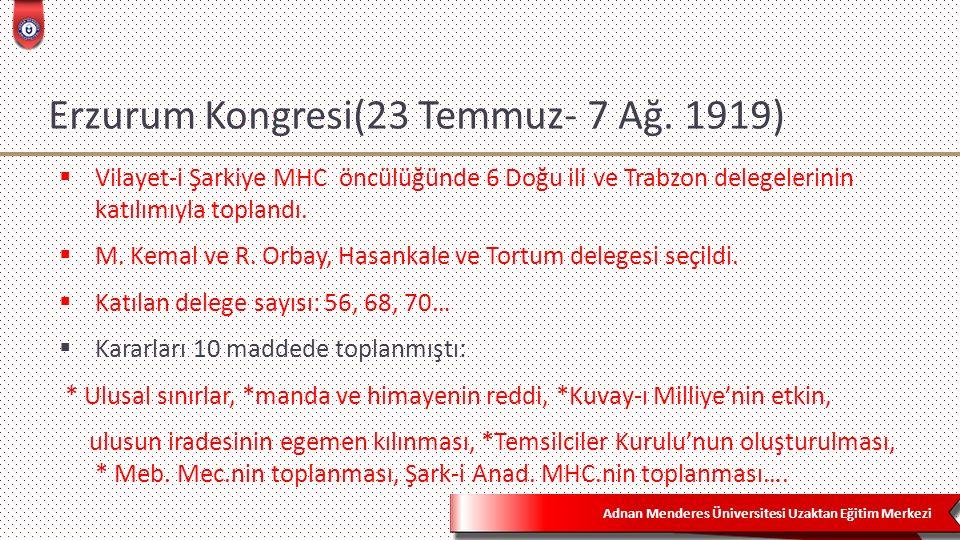 Adnan Menderes Üniversitesi Uzaktan Eğitim Merkezi Erzurum Kongresi(23 Temmuz- 7 Ağ.