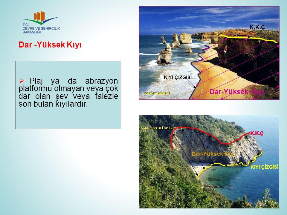  Plaj ya da abrazyon platformu olmayan veya çok dar olan şev veya falezle son bulan kıyılardır. Dar -Yüksek Kıyı K.K.Ç KIYI ÇİZGİSİ Dar-Yüksek Kıyı