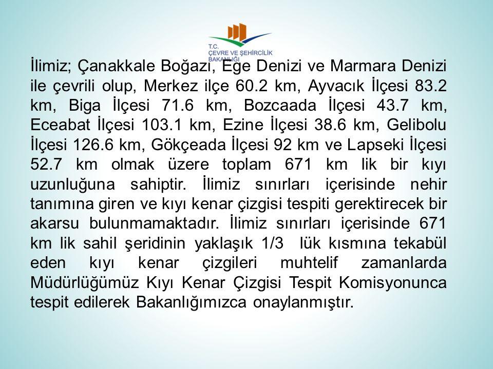Kalan kısımlara ait tespitler ise Bakanlığımızca ihalesi yapılan, Çanakkale İli, Ege ve Marmara Denizi Kıyı Kesimine ait Kıyı Kenar Çizgisi Tespitlerinin Tamamlanması İşi kapsamında tamamlanmış ve 836 adet 1/1000 ölçekli ortofoto harita üzerine Kıyı Kenar Çizgisi Tespit Komisyonumuzca yapılan aktarma ve yeni tespit işlemi Bakanlığımızca incelenerek, 799 adet pafta 08.10.2013 tarih ve 15811 sayılı Makam Olur'una istinaden 3621 sayılı Kıyı Kanunu'nun 9.