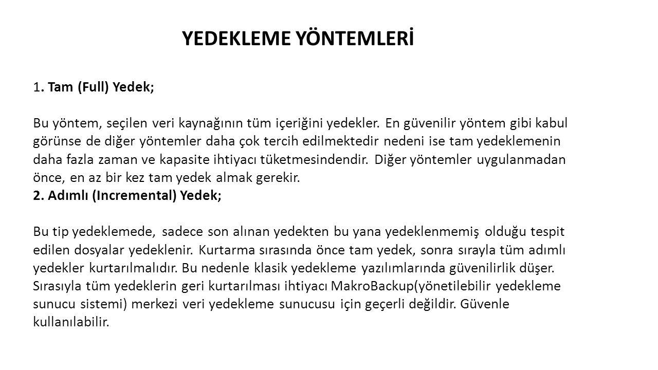 YEDEKLEME YÖNTEMLERİ 1.