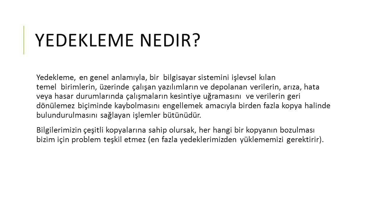 YEDEKLEME NEDIR.