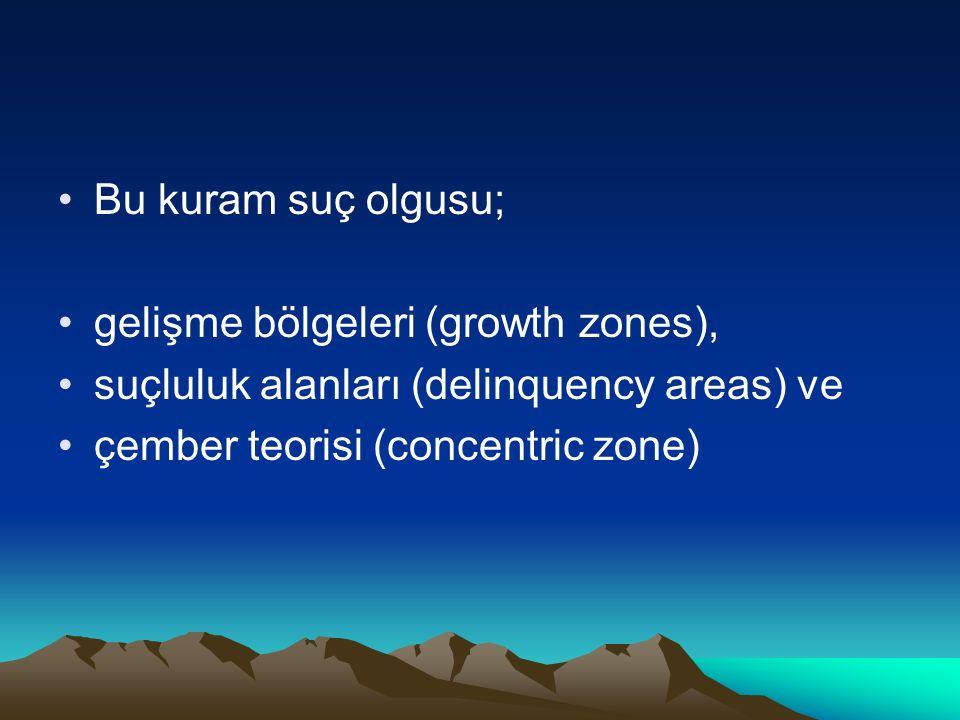 Bu kuram suç olgusu; gelişme bölgeleri (growth zones), suçluluk alanları (delinquency areas) ve çember teorisi (concentric zone)