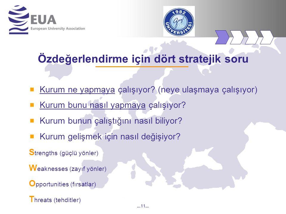 …11… Özdeğerlendirme için dört stratejik soru Kurum ne yapmaya çalışıyor? (neye ulaşmaya çalışıyor) Kurum bunu nasıl yapmaya çalışıyor? Kurum bunun ça
