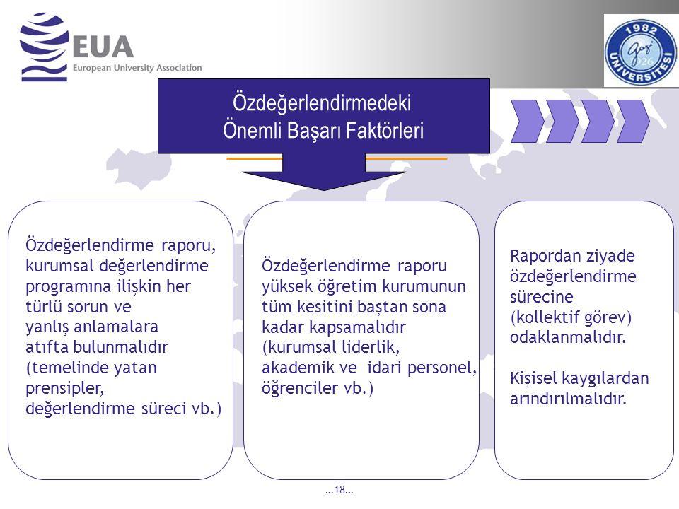 …18… Özdeğerlendirme raporu yüksek öğretim kurumunun tüm kesitini baştan sona kadar kapsamalıdır (kurumsal liderlik, akademik ve idari personel, öğrenciler vb.) Özdeğerlendirme raporu, kurumsal değerlendirme programına ilişkin her türlü sorun ve yanlış anlamalara atıfta bulunmalıdır (temelinde yatan prensipler, değerlendirme süreci vb.) Özdeğerlendirmedeki Önemli Başarı Faktörleri Rapordan ziyade özdeğerlendirme sürecine (kollektif görev) odaklanmalıdır.