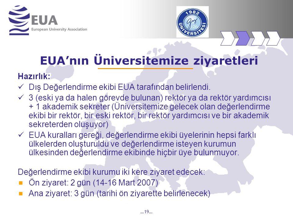 …19… EUA'nın Üniversitemize ziyaretleri Hazırlık: Dış Değerlendirme ekibi EUA tarafından belirlendi. 3 (eski ya da halen görevde bulunan) rektör ya da