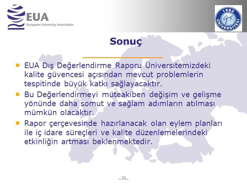 …33… Sonuç EUA Dış Değerlendirme Raporu Üniversitemizdeki kalite güvencesi açısından mevcut problemlerin tespitinde büyük katkı sağlayacaktır. Bu Değe