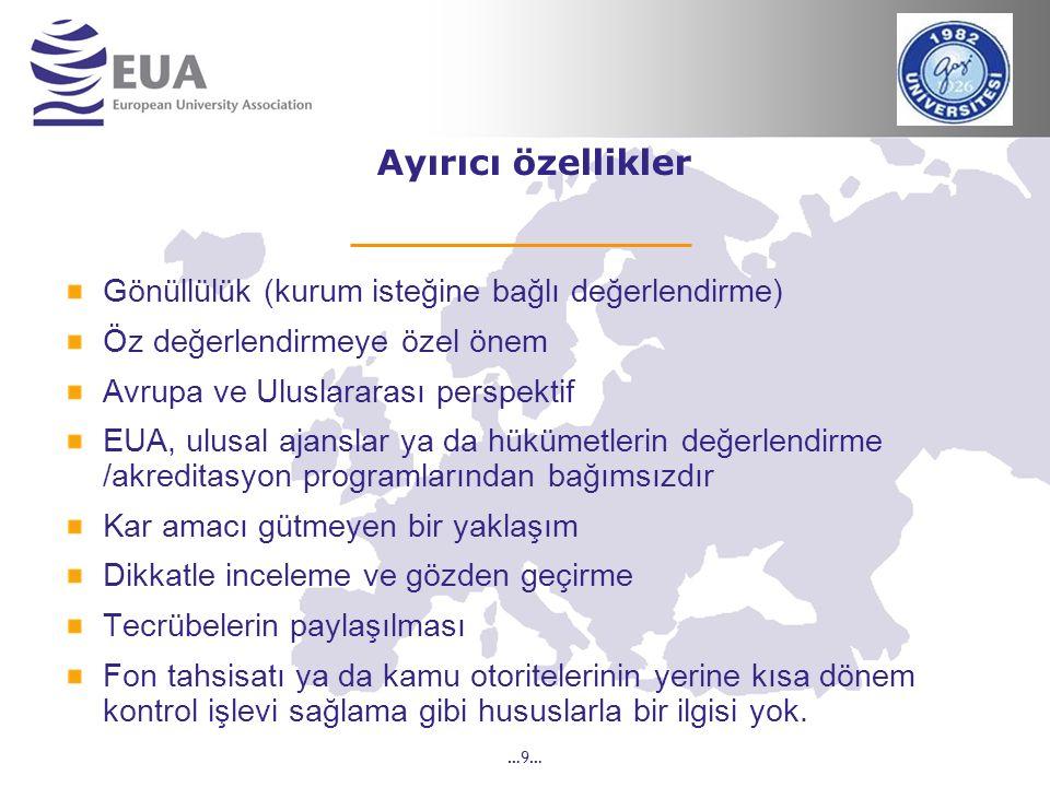 …9… Ayırıcı özellikler Gönüllülük (kurum isteğine bağlı değerlendirme) Öz değerlendirmeye özel önem Avrupa ve Uluslararası perspektif EUA, ulusal ajan