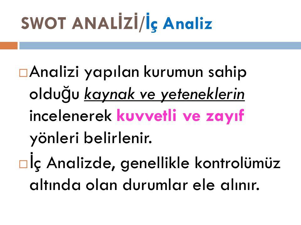 SWOT ANAL İ Z İ / İ ç Analiz  Analizi yapılan kurumun sahip oldu ğ u kaynak ve yeteneklerin incelenerek kuvvetli ve zayıf yönleri belirlenir.
