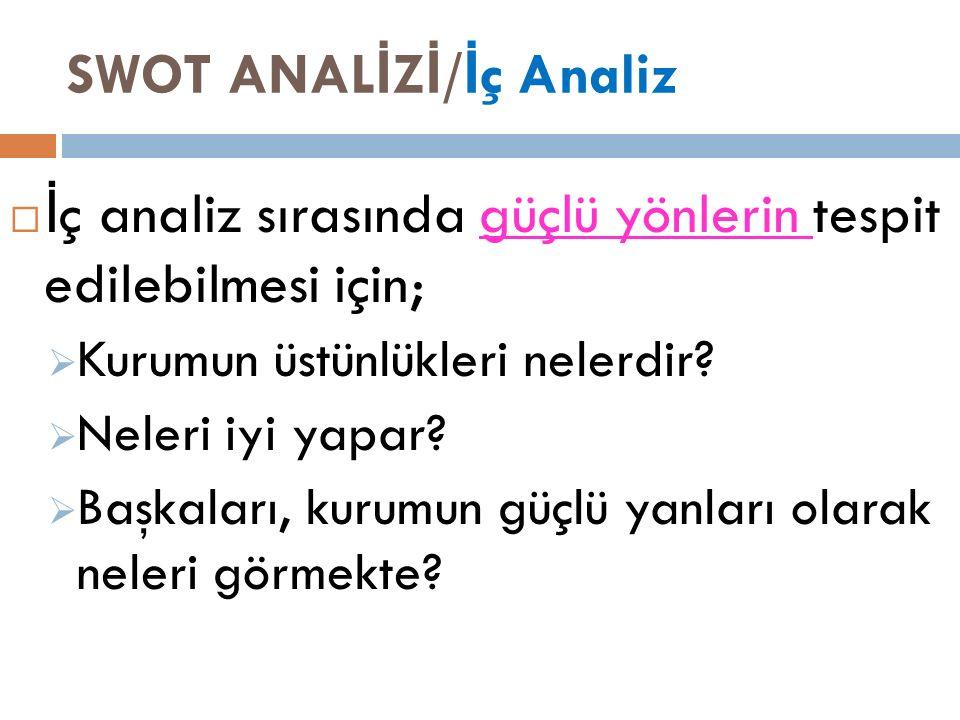 SWOT ANAL İ Z İ / İ ç Analiz  İ ç analiz sırasında güçlü yönlerin tespit edilebilmesi için;  Kurumun üstünlükleri nelerdir.