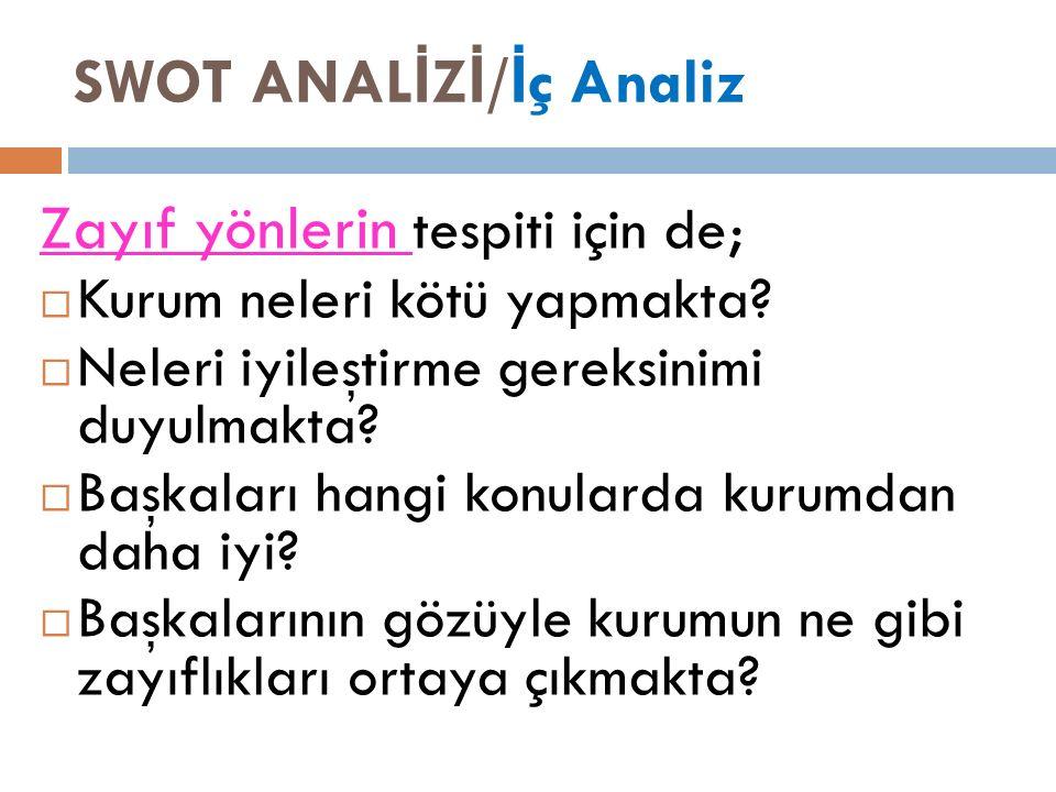 SWOT ANAL İ Z İ / İ ç Analiz Zayıf yönlerin tespiti için de;  Kurum neleri kötü yapmakta.