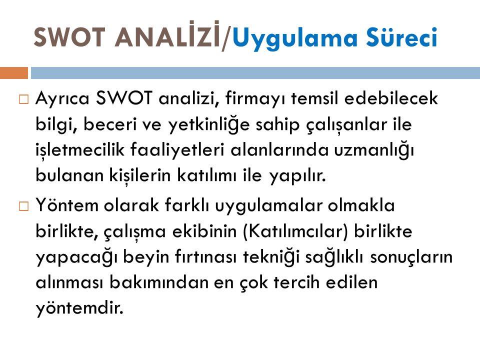 SWOT ANAL İ Z İ /Uygulama Süreci  Ayrıca SWOT analizi, firmayı temsil edebilecek bilgi, beceri ve yetkinli ğ e sahip çalışanlar ile işletmecilik faaliyetleri alanlarında uzmanlı ğ ı bulanan kişilerin katılımı ile yapılır.