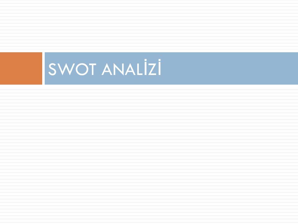 SWOT ANAL İ Z İ /Dış Analiz  Dış analiz kapsamında fırsatları ve tehditleri belirlerken  teknoloji ve pazarda oluşan de ğ işimler,  hükümet politikalarındaki de ğ işimler,  sosyo-kültürel yapıdaki de ğ işimler,  yerel olaylar gibi kurumu etkileyebilecek unsurlar göz önünde bulundurularak çevrede ne gibi ilginç gelişmeler yaşandı ğ ı de ğ erlendirilir.