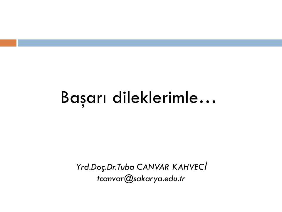 Başarı dileklerimle… Yrd.Doç.Dr.Tuba CANVAR KAHVEC İ tcanvar@sakarya.edu.tr