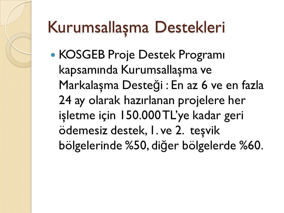 Kurumsallaşma Destekleri KOSGEB Proje Destek Programı kapsamında Kurumsallaşma ve Markalaşma Deste ğ i : En az 6 ve en fazla 24 ay olarak hazırlanan projelere her işletme için 150.000 TL'ye kadar geri ödemesiz destek, 1.