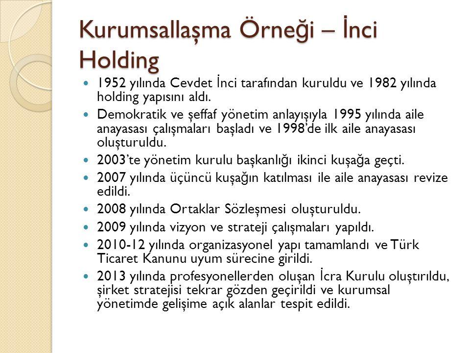 Kurumsallaşma Örne ğ i – İ nci Holding 1952 yılında Cevdet İ nci tarafından kuruldu ve 1982 yılında holding yapısını aldı. Demokratik ve şeffaf yöneti