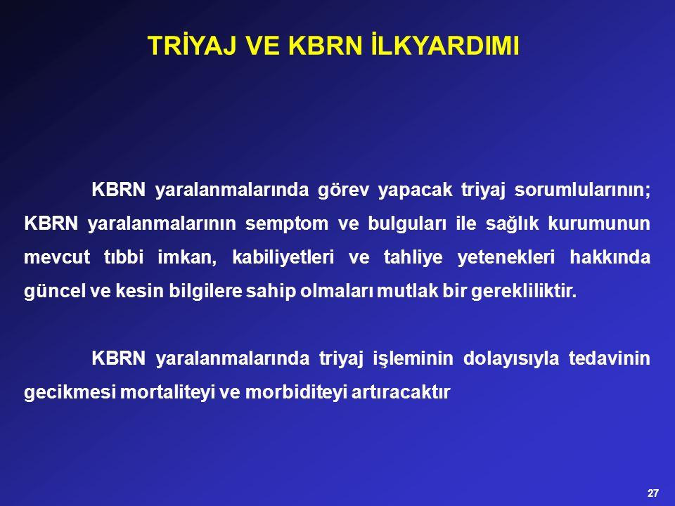 KBRN yaralanmalarında görev yapacak triyaj sorumlularının; KBRN yaralanmalarının semptom ve bulguları ile sağlık kurumunun mevcut tıbbi imkan, kabiliy