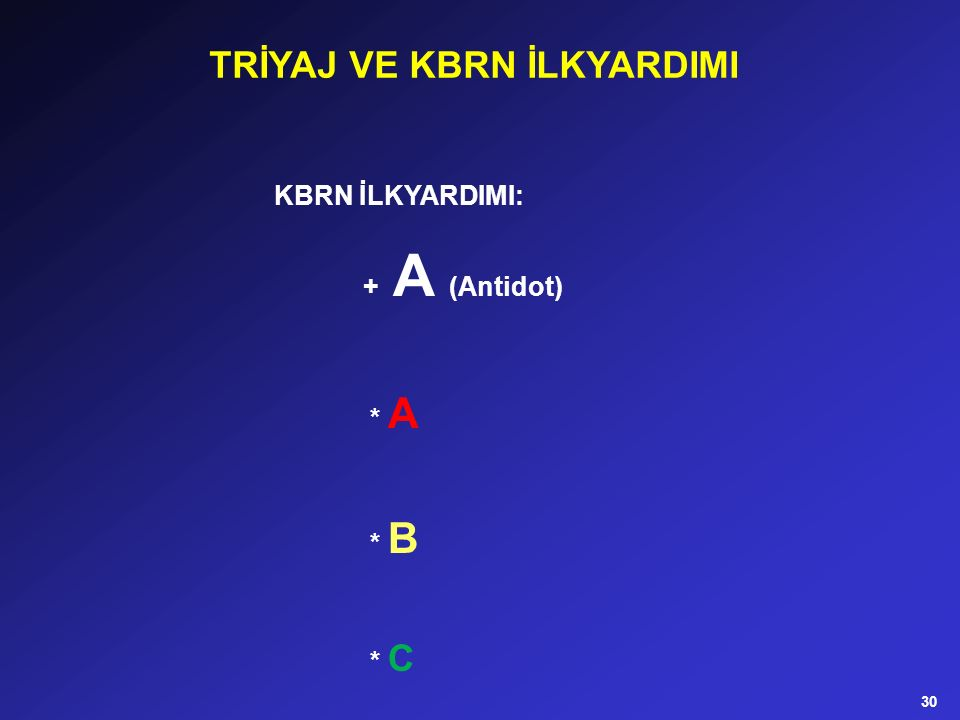 KBRN İLKYARDIMI: + A (Antidot) * A * B * C TRİYAJ VE KBRN İLKYARDIMI 30