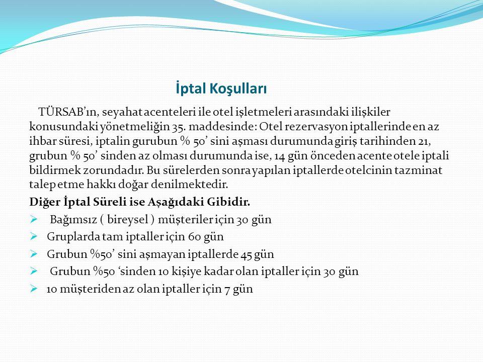 İptal Koşulları TÜRSAB'ın, seyahat acenteleri ile otel işletmeleri arasındaki ilişkiler konusundaki yönetmeliğin 35. maddesinde: Otel rezervasyon ipta