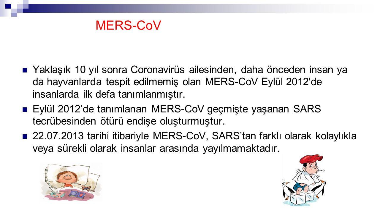 MERS-CoV Yaklaşık 10 yıl sonra Coronavirüs ailesinden, daha önceden insan ya da hayvanlarda tespit edilmemiş olan MERS-CoV Eylül 2012'de insanlarda il