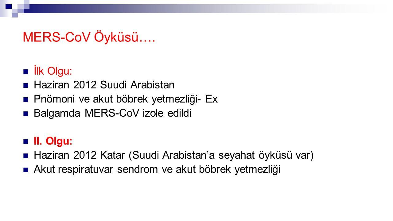 MERS-CoV Öyküsü…. İlk Olgu: Haziran 2012 Suudi Arabistan Pnömoni ve akut böbrek yetmezliği- Ex Balgamda MERS-CoV izole edildi II. Olgu: Haziran 2012 K