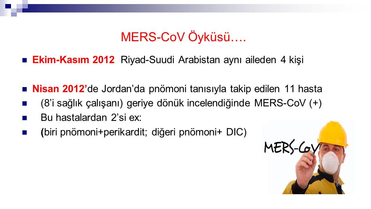 MERS-CoV Öyküsü…. Ekim-Kasım 2012 Riyad-Suudi Arabistan aynı aileden 4 kişi Nisan 2012'de Jordan'da pnömoni tanısıyla takip edilen 11 hasta (8'i sağlı
