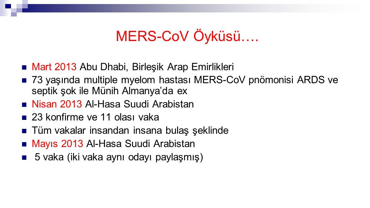 MERS-CoV Öyküsü…. Mart 2013 Abu Dhabi, Birleşik Arap Emirlikleri 73 yaşında multiple myelom hastası MERS-CoV pnömonisi ARDS ve septik şok ile Münih Al